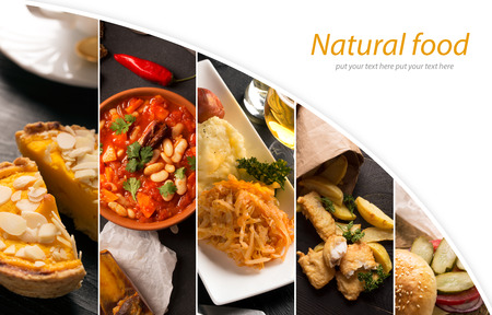 Collage of different pictures of traditional food with copy space