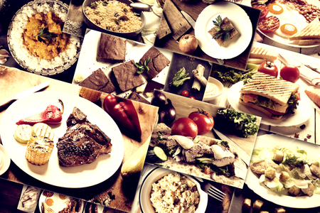 Collage de diferentes imágenes de alimentos naturales preparados en estilo rústico
