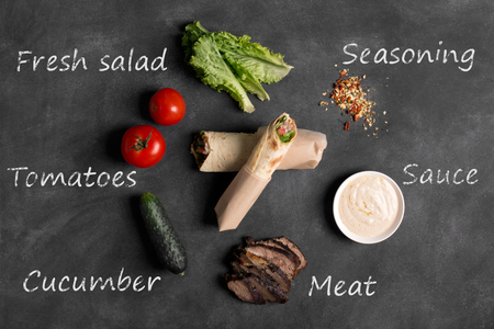 tzaziki: Doner kebab - fried beef meat with vegetables in tortilla on the black chalkboard with ingredients inscriptions