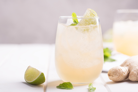 Fresh ginger beer with lime and ice