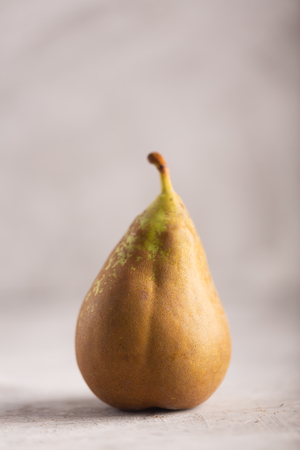 Ugly spotted pear on the gray background, vertical orientation