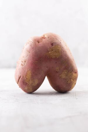 Ugly potato in the heart shape on a gray background. Funny, unnormal vegetable or food waste concept. Vertical orientation Stock Photo