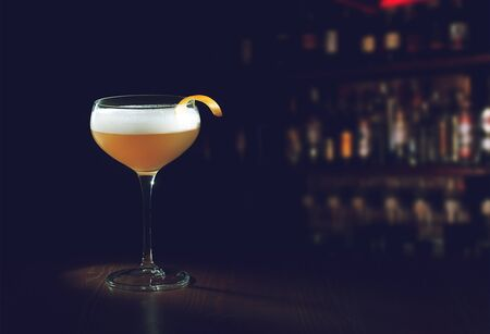 Whiskey Sour Cocktail - Bourbon with Lemon Juice, Sugar Syrup and Eggs White.