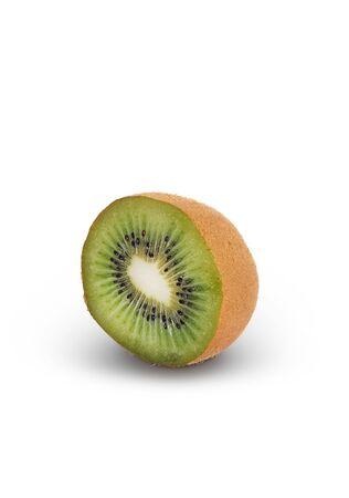 Single half of ripe juicy kiwi fruit on white