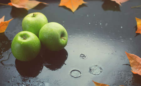 Green apples and oak leaves on a dark background with raindrops, toned photo