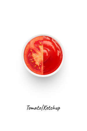 Tomato ketchup concept image. Isolated on white background. Ketchup is a table condiment or sauce