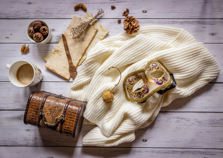 Autumn composition.Old letter, coffee, cone and scarf on wooden background, top view Archivio Fotografico