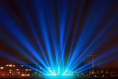 light beams on the city promenade