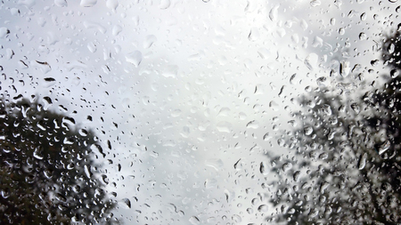 raindrops on the windshield of a vehicle, captured from within