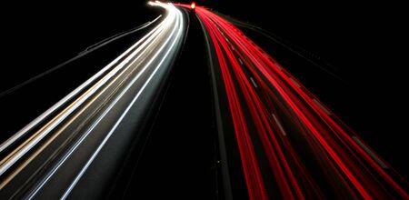 long exposure road traffic night lights spotlight.