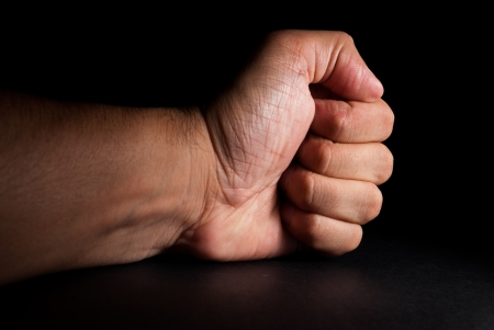 banging: Angry man banging fist on table