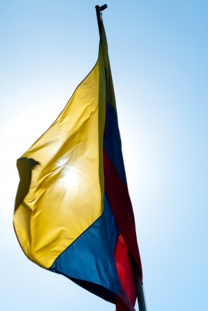 colombian flag: Colombian flag waving in the wind