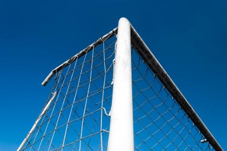 Soccer Goal against clear blue sky photo