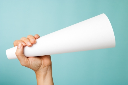 communication concept: White blank megaphone