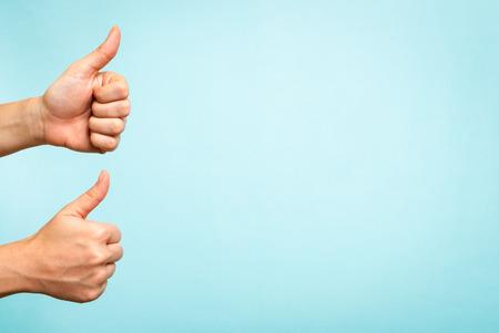 Success concept on blue background