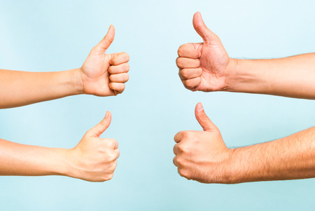 thumbs up group: Successful team concept