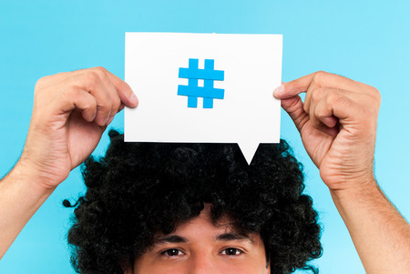 Hashtag to follow concept Stock Photo