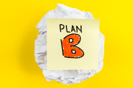 b ball: Plan B message on paper ball and yellow background