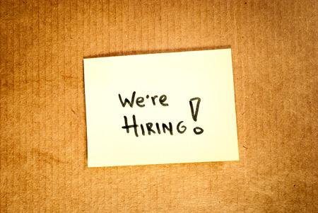 seeker: We are hiring cardboard Stock Photo