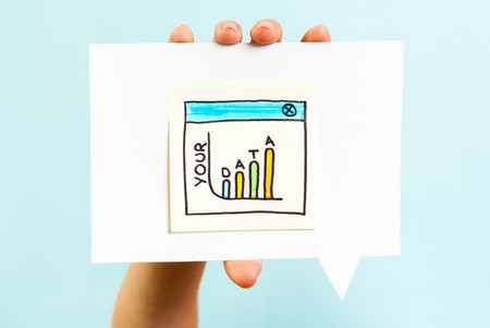 datos personales: Los datos personales pena concepto sobre fondo azul