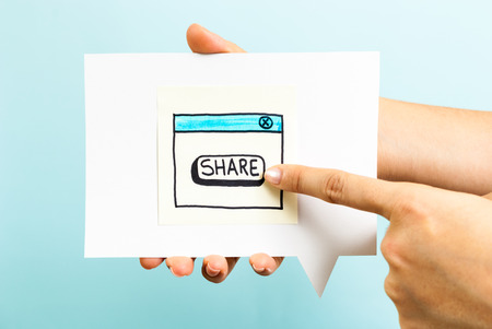 Share button concept on blue background photo