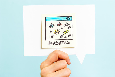 Hashtag message on speech bubble