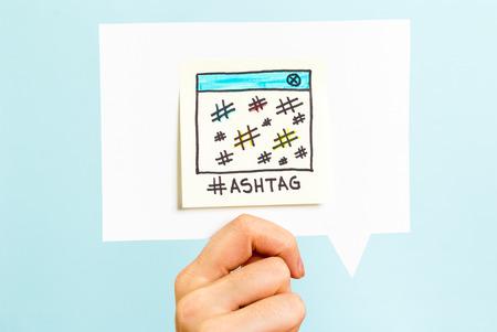 Messaggio hashtag su fumetto Archivio Fotografico - 35141076
