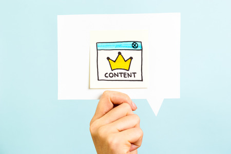 Content is the king message on blue background Standard-Bild