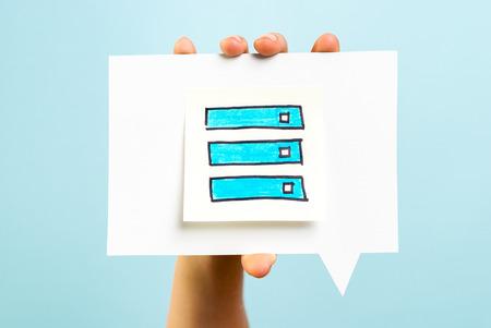 online survey: Check list concept on speech bubble Stock Photo