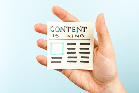 Showing content is king message Stock Photo