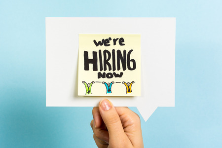 we are hiring now message concept on speech bubble