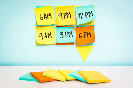 schedule reports: Time to schedule board on blue background. Business concept