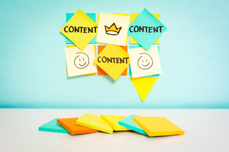 web content: Speech bubble with content word.  Stock Photo
