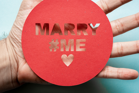 Red message for will you marry me concept Stock Photo