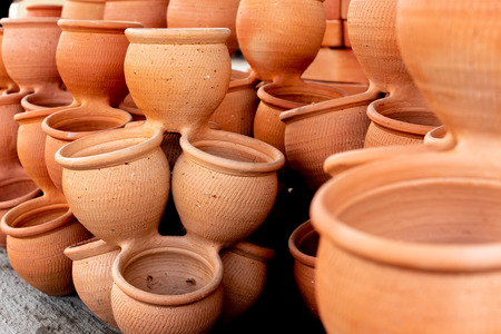 Close-up view of traditional collection old mud pots Stock Photo