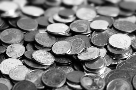 copper coin: huge amount of coins black and white Stock Photo