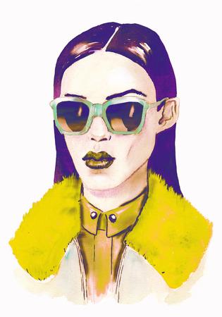 Hipster-Mädchen mit Brille. Handgemalte Modeillustration. Herbsttrends. Modetrends.