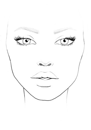 Beautiful woman portrait. Face chart. Makeup Artist Blank. Template.