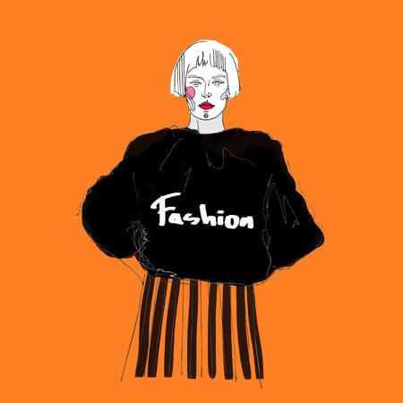 beaautiful fashion girl. Stylish woman. Fashion illustration hand painted. Banco de Imagens