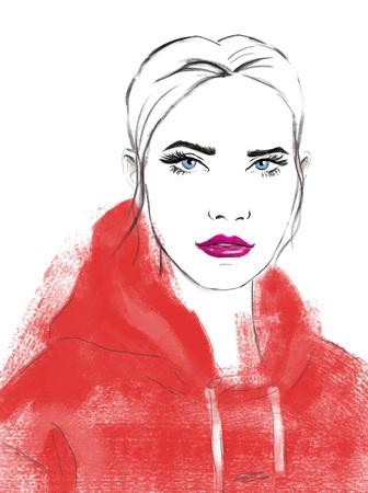 Portrait of beautiful woman.  Stylish beautiful model for fashion design.