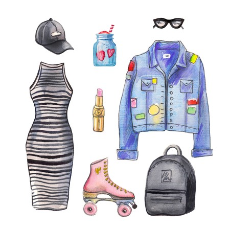 Watercolor Fashion look. hand painted fashion illustration.fashion set of accessories and stuff for the fall, fashion concept. hipster look.