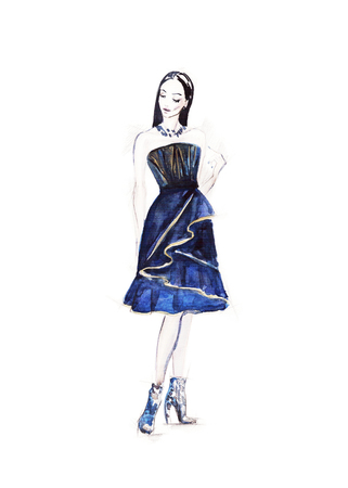 art sketch of beautiful young woman in dress. fashion background