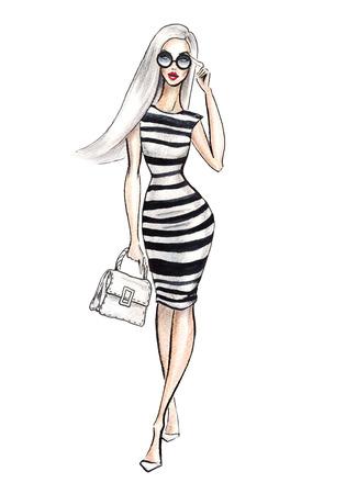 Street fashion. watercolor fashion illustration.  fashionable women shopping. Stock Photo