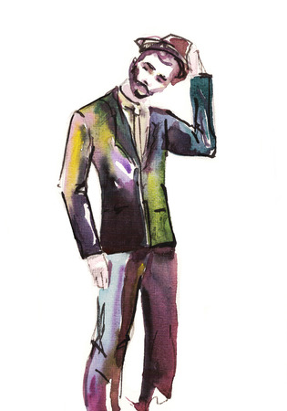 man portrait . watercolor .fashion illustration.  Sketch of fashion handsome man .
