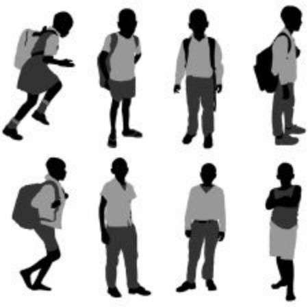 silhouette of poor african school children from rural areas