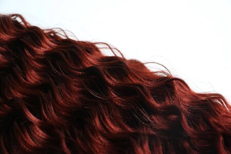 Isolated curly auburn red hair piece with space for text