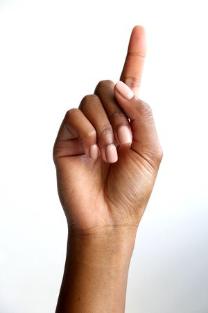 black african hand pointing into the distance or pressing button or selection