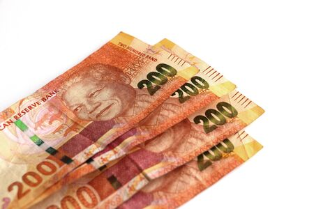 South African R200 note money currency piled and fanned out with Nelson Mandela face