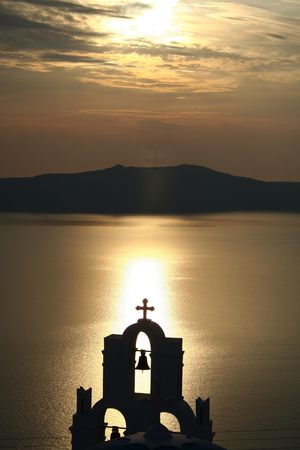 thira: A sunset in Thira, Santorini Stock Photo