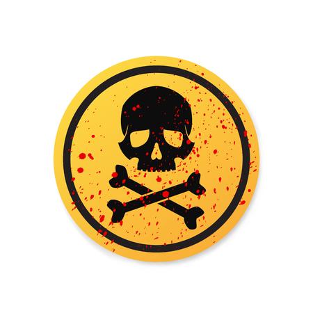 high voltage symbol: Danger sign with skull symbol Illustration